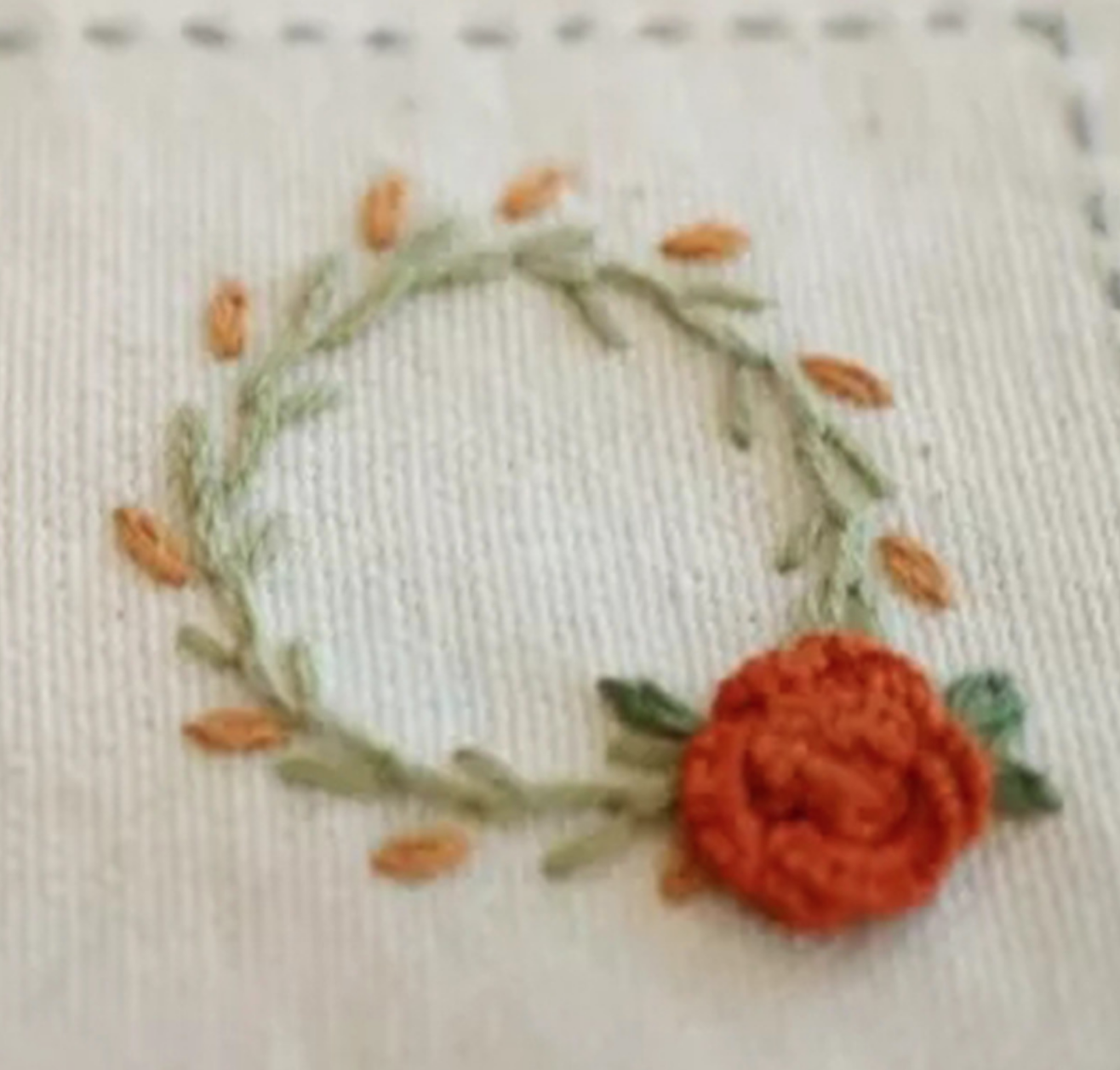 Red Flower Wreath Embroidery