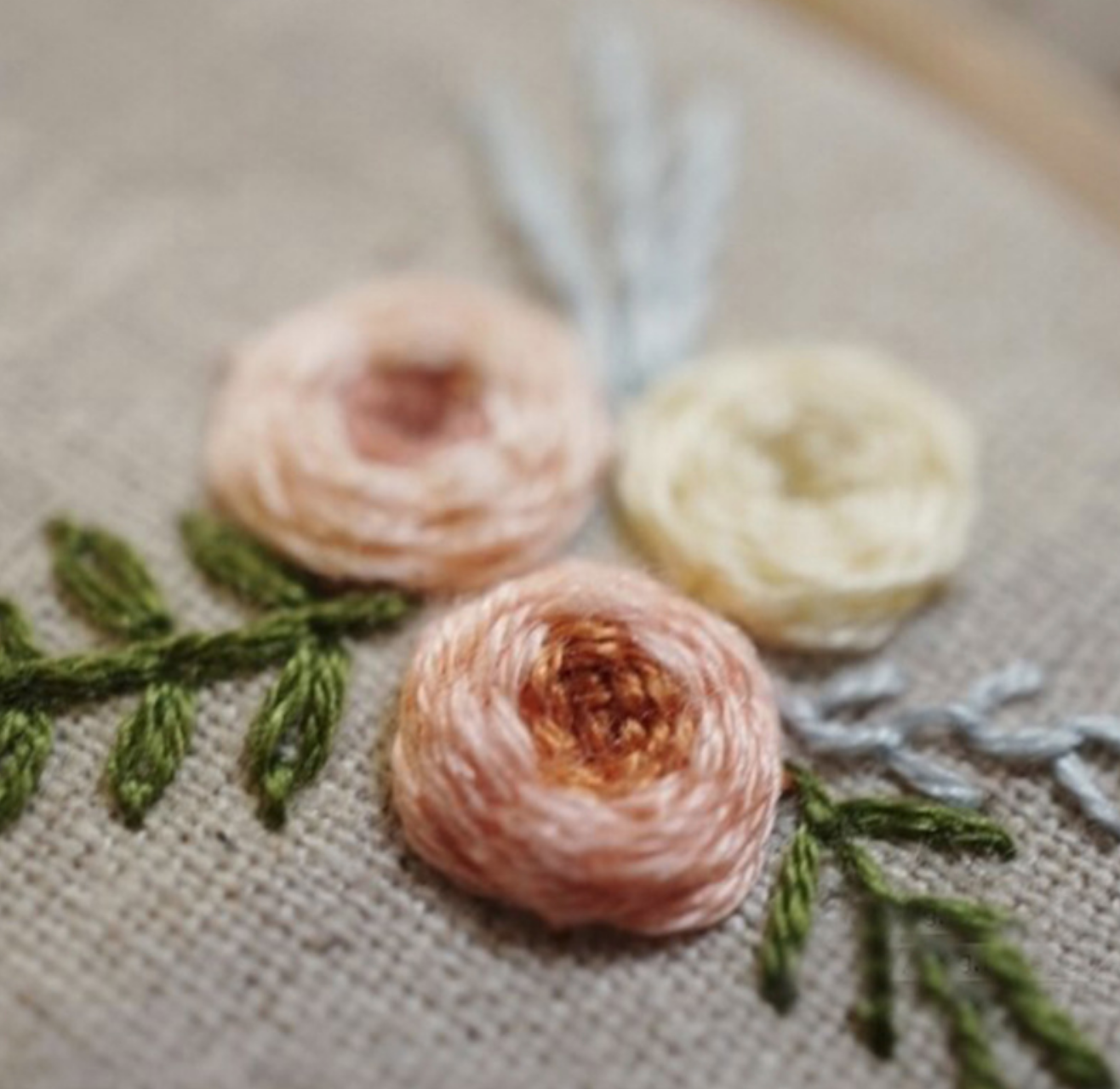 Yellow/Peach/Orange Flower Embroidery