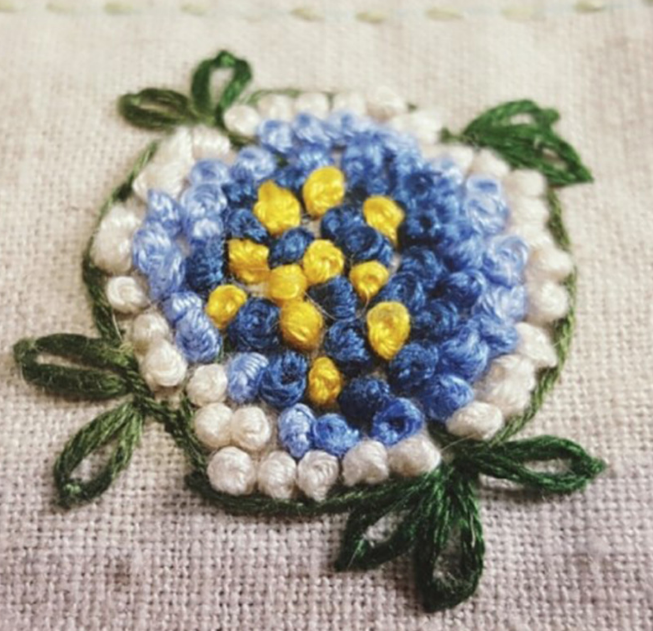 Yellow/Blue Flower Dors Embroidery