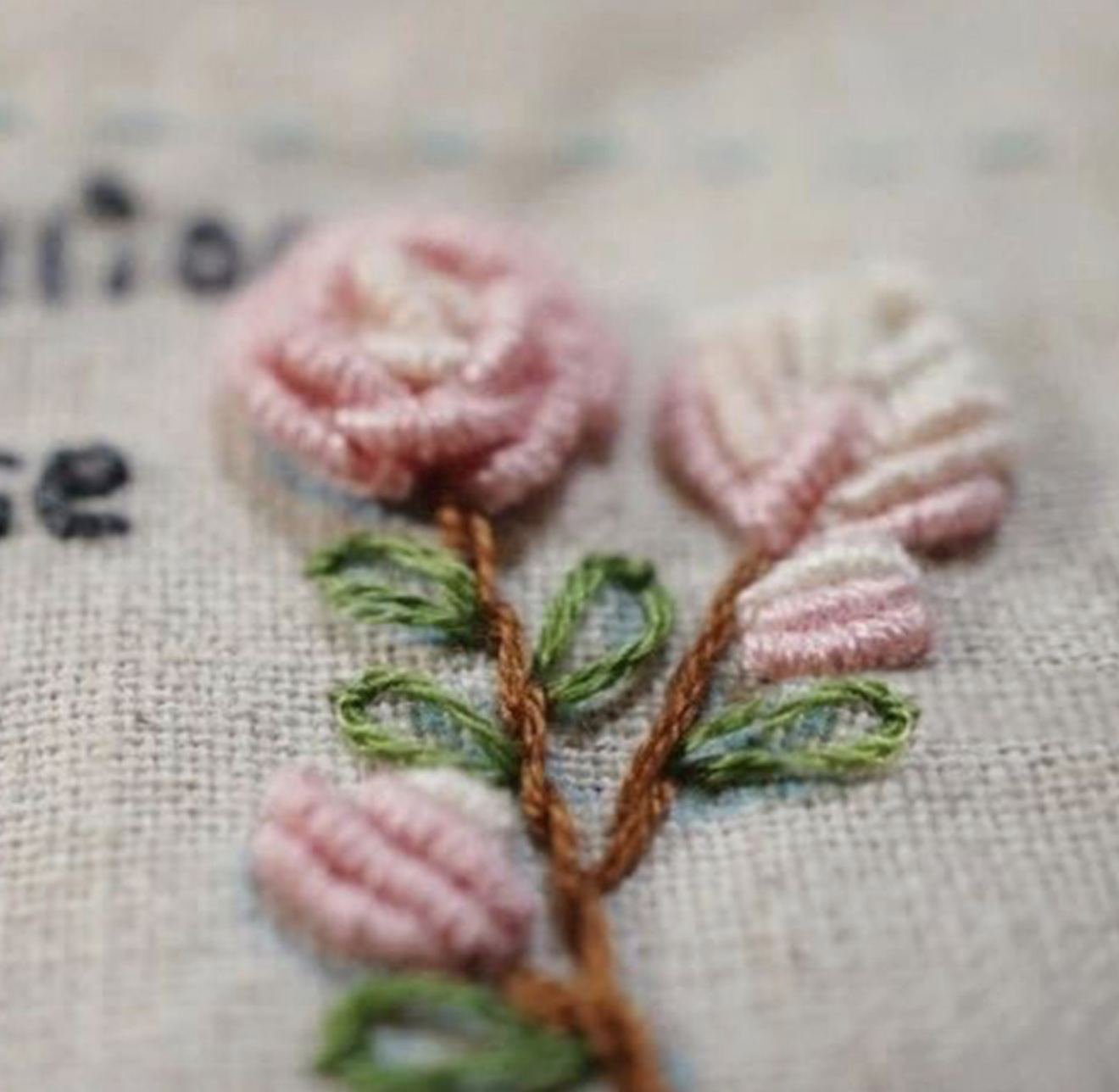 Pink and White Flowers Embroidery