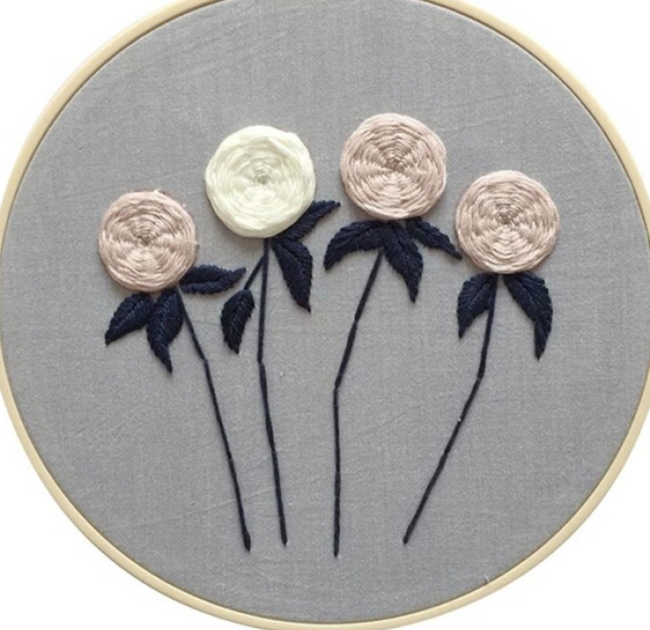 Four Flowers on Black Stems Embroidery