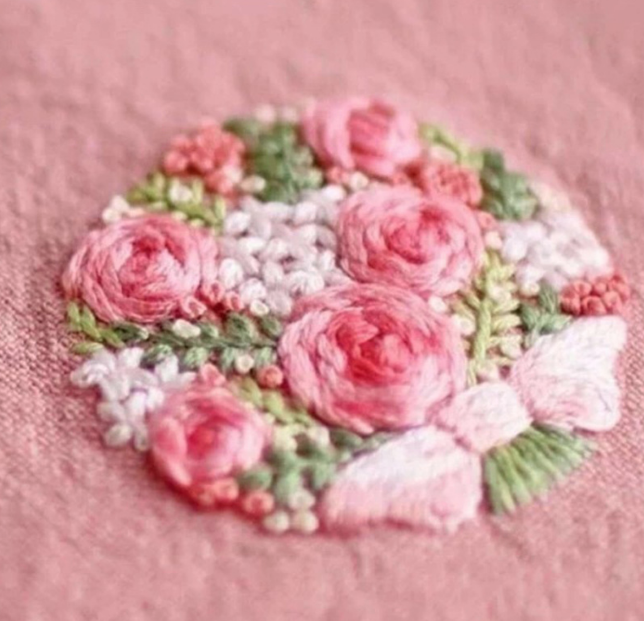 Pink Green Bouquet Embroidery
