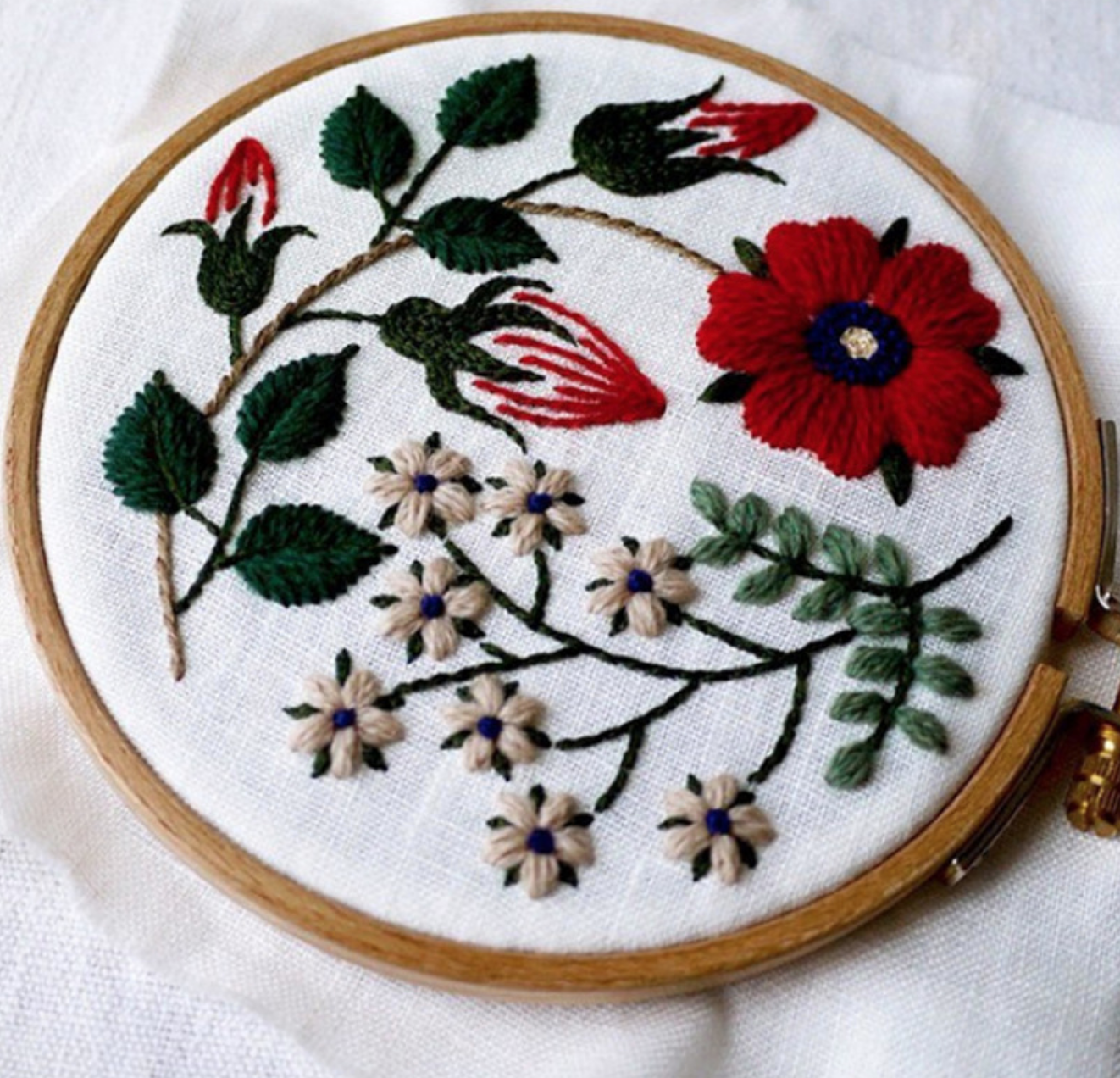 Red Poppy Floral Embroidery
