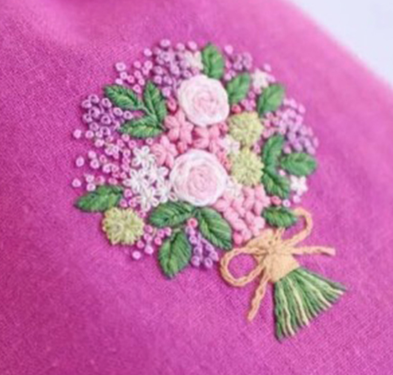 Pink Bouquet on Pink Embroidery