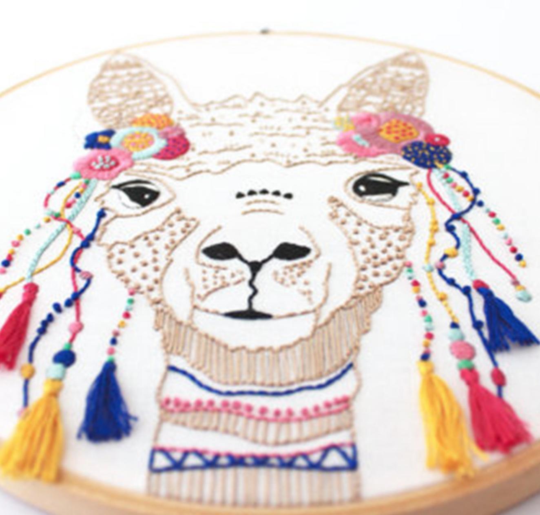 Colorful Llama Embroidery