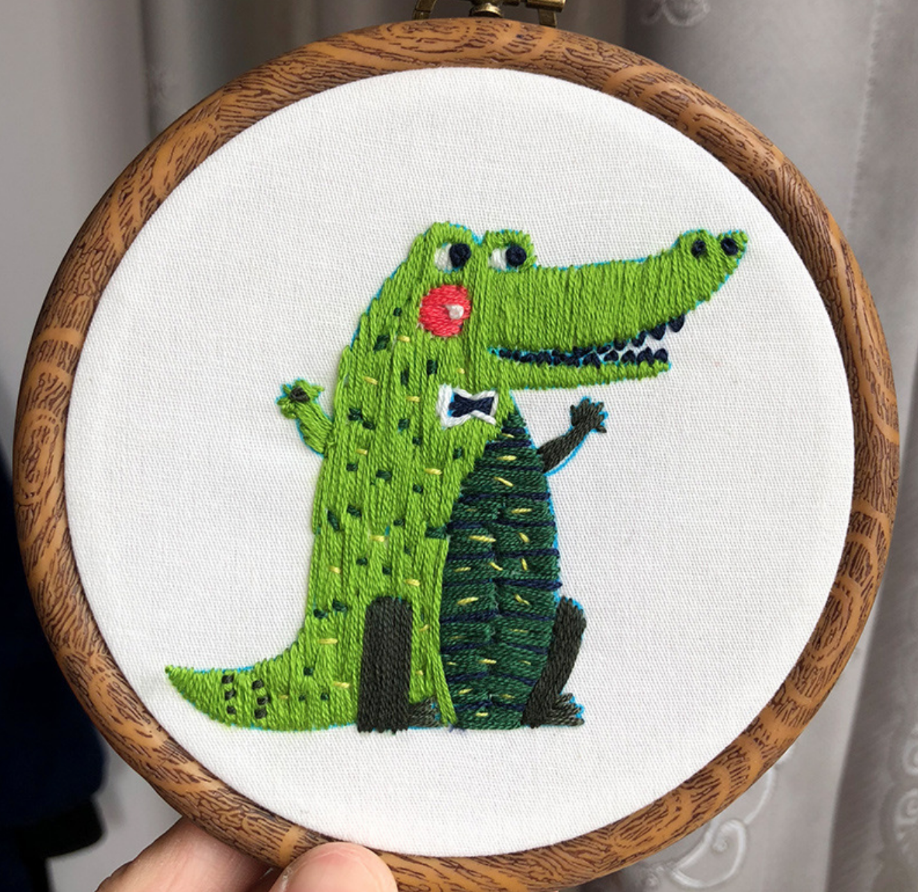 Crocodile with Tie Embroidery