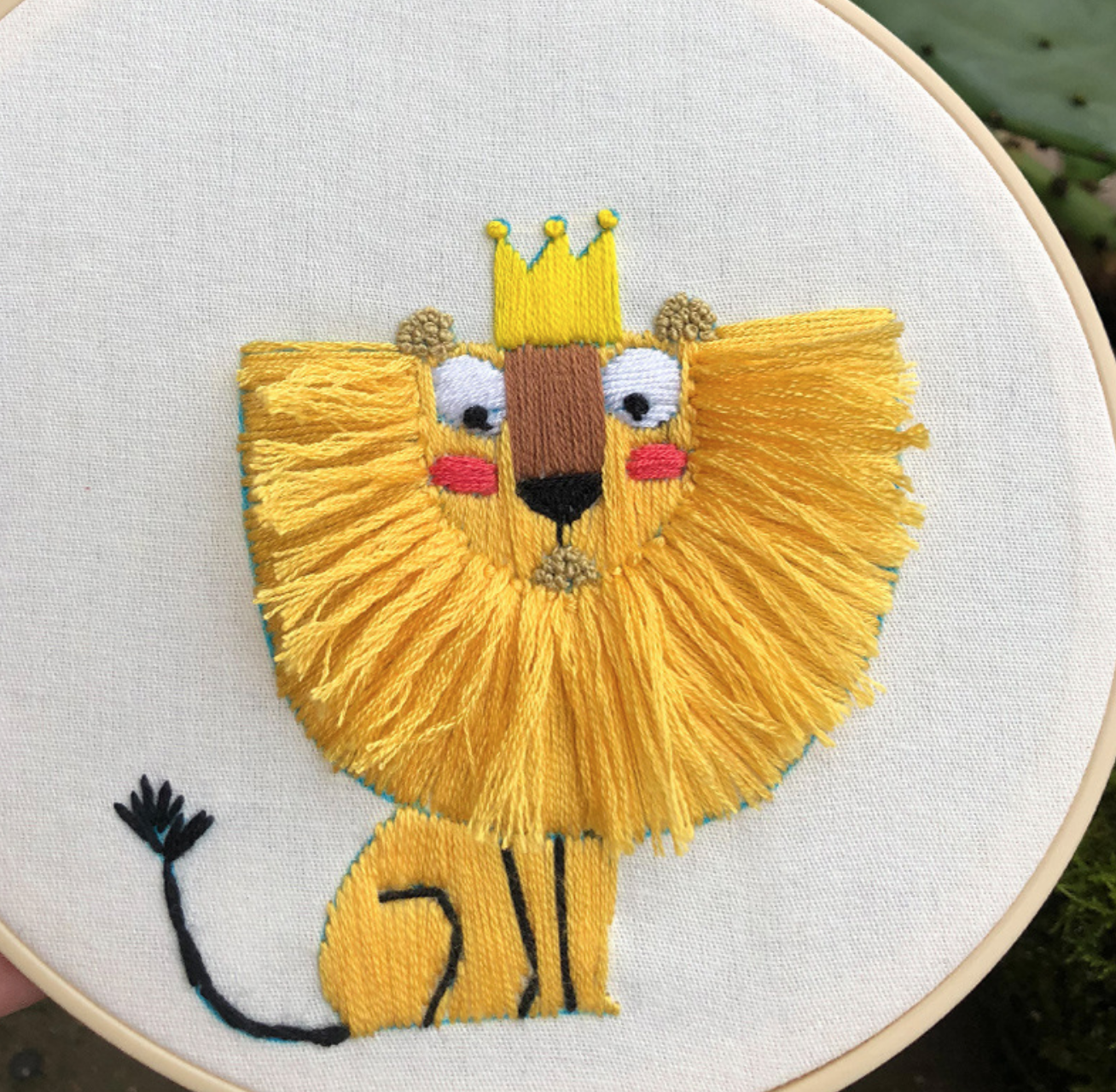 Lion with Crown Embroidery