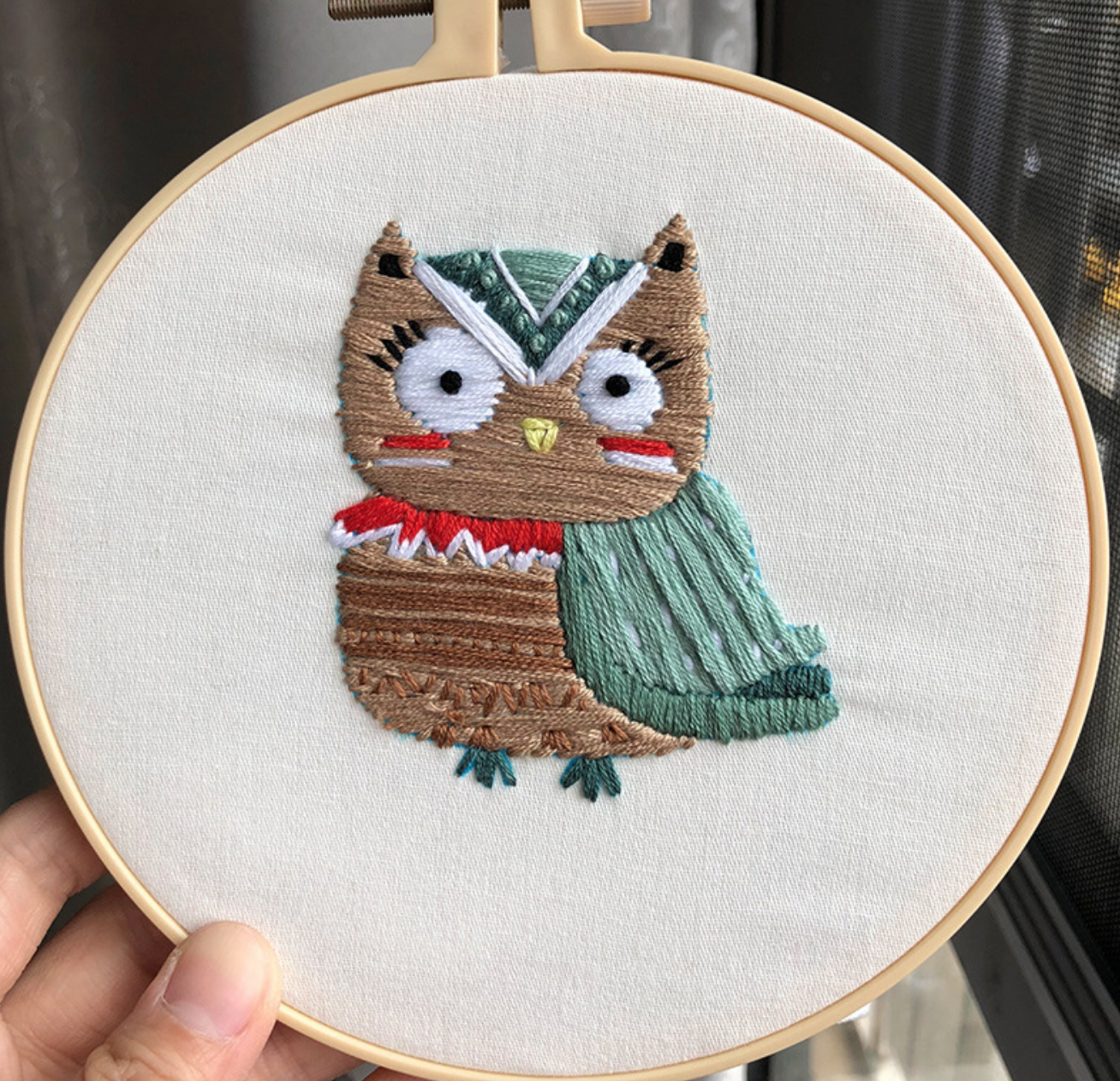 Owl with Green Embroidery