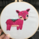 Pink Deer Winking Embroidery