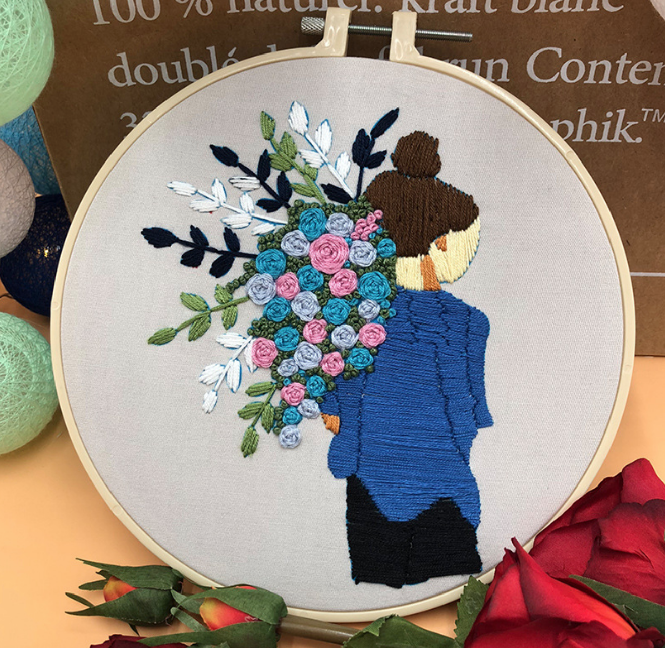Blue Shirt Brunette wth Pink and Blue Roses Embroidery