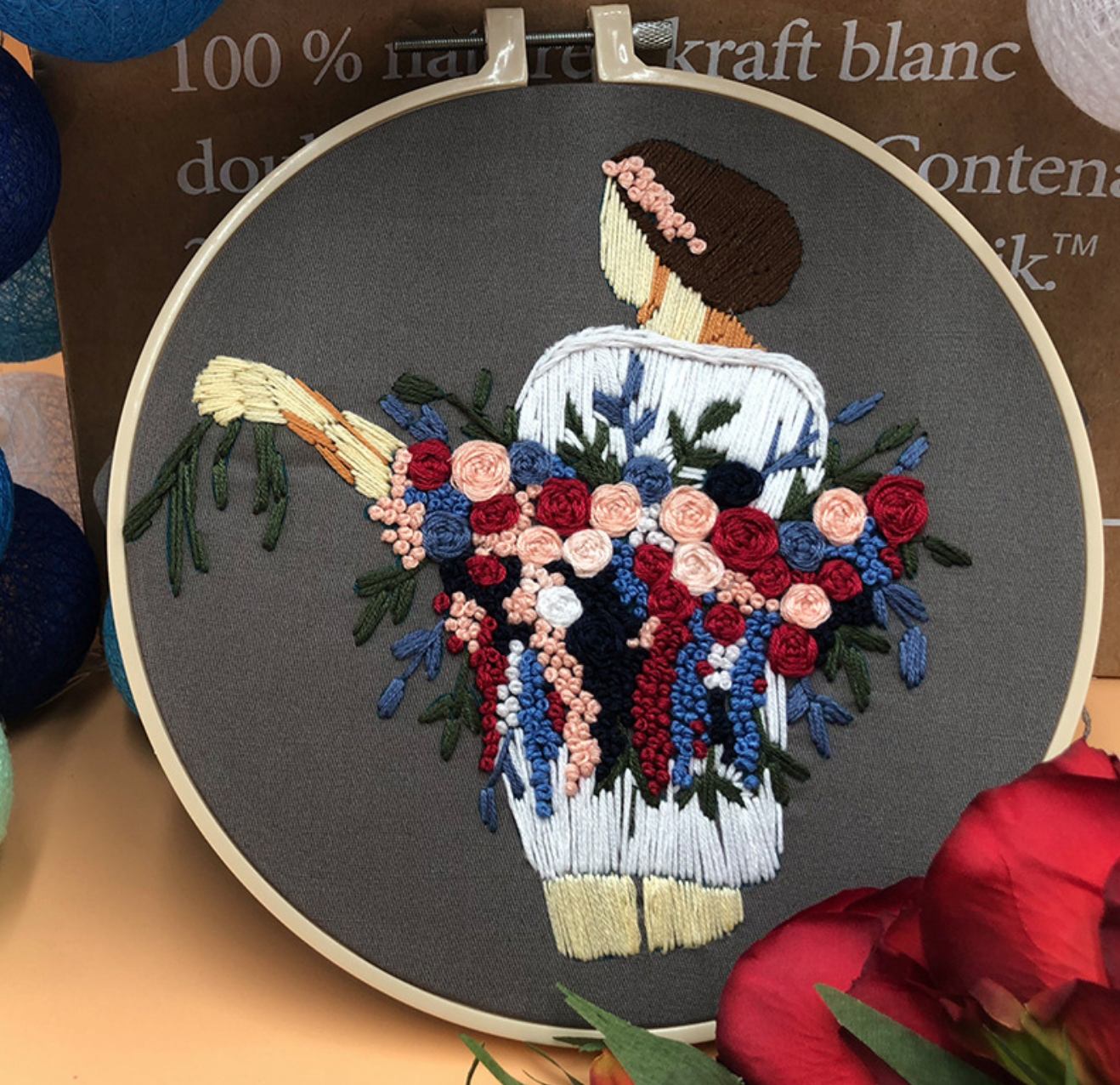Red/Blue/Pink Garland Bouquet with Women in White Embroidery