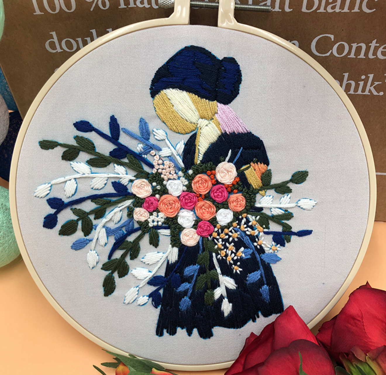 Blonde Woman with Pink/Orange/White Bouquet Embroidery