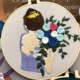 Lavender Dress Brunette with Blue/Light Blue Bouquet Embroidery