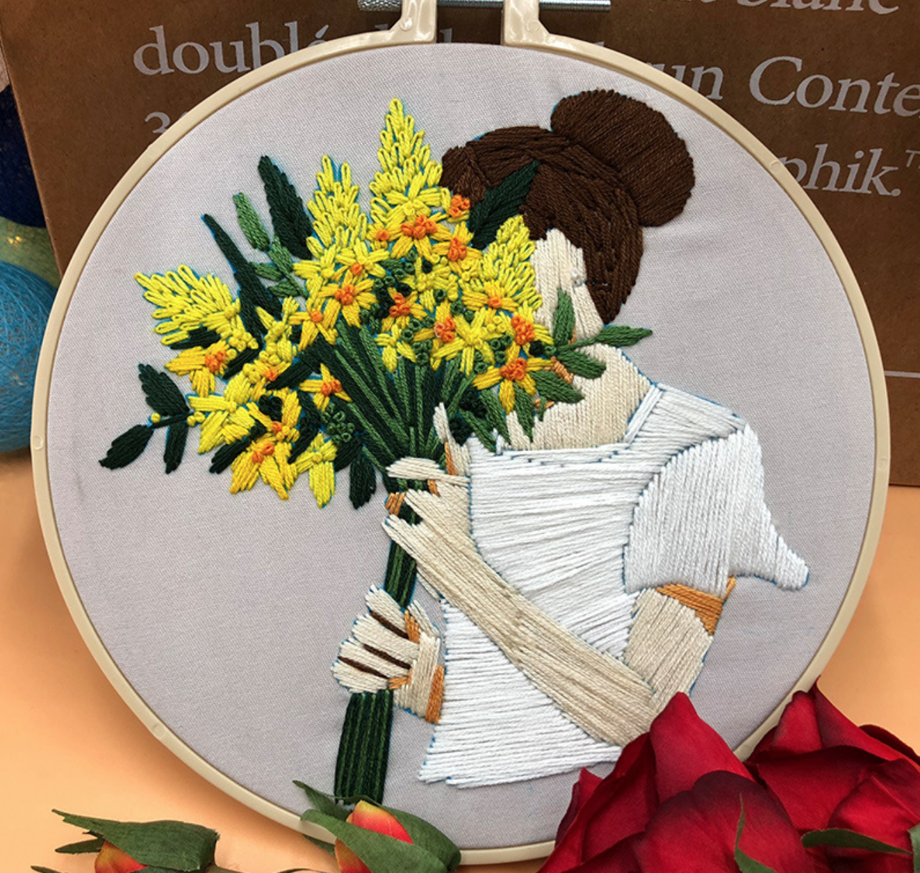 Yellow Bouquet with Brunette Embroidery