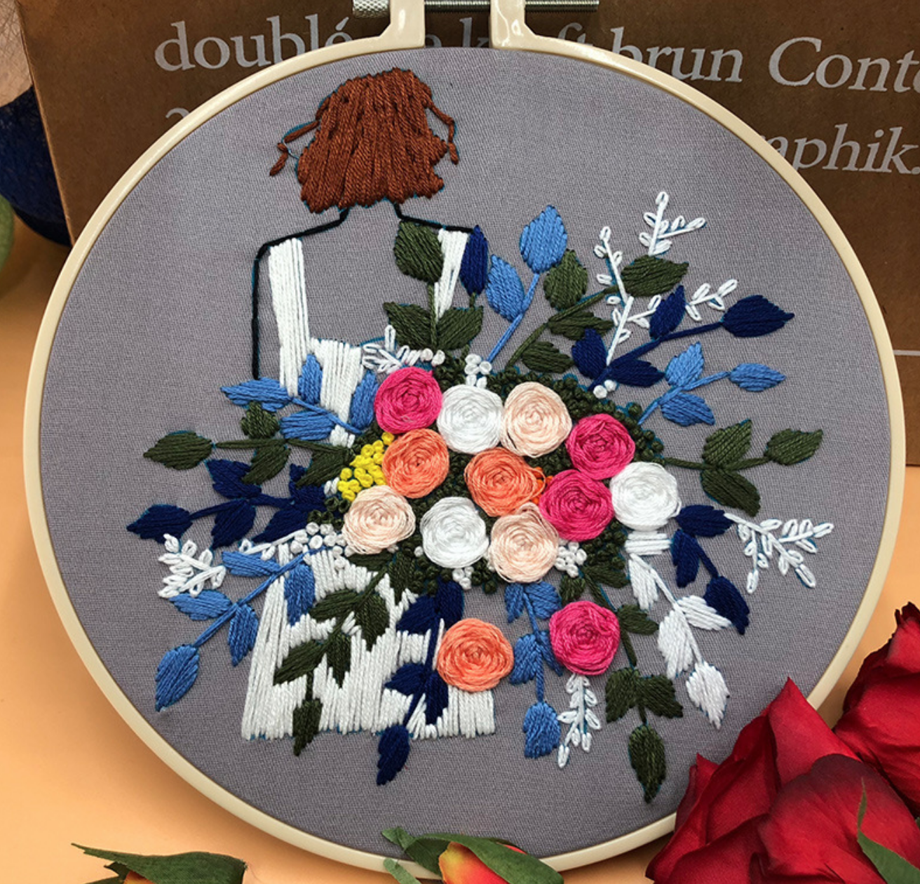 Short Brunette with Pink/White Bouquet Embroidery