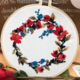 Red Flower with Brown Leaves Wreath Embroidery