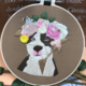 Bull Dog with Pink Wreath Embroidery