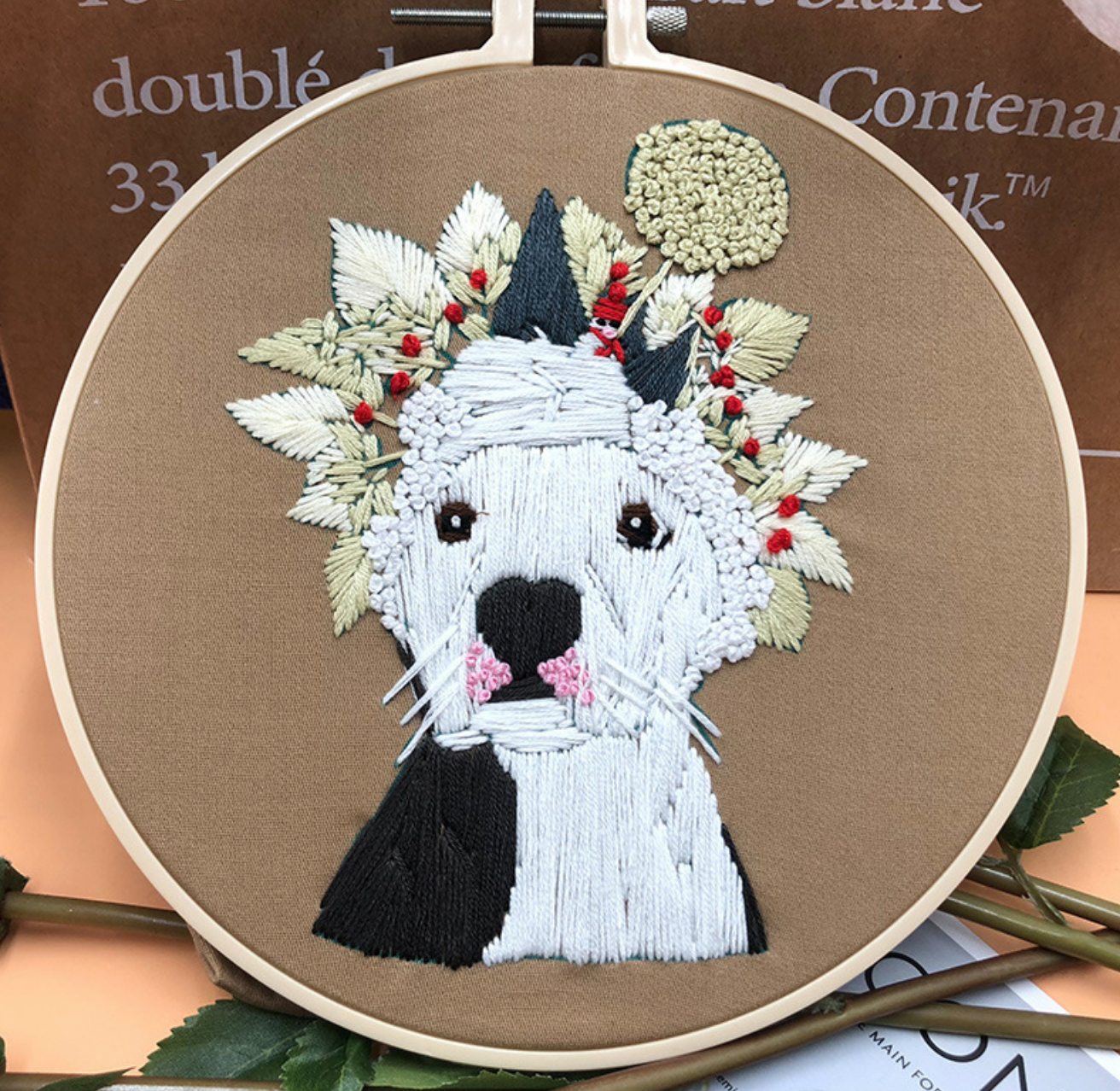 Black and White Dog with Wheat Hat Embroidery