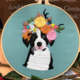 Black and White Dog with Orange Floral Crown Embroidery
