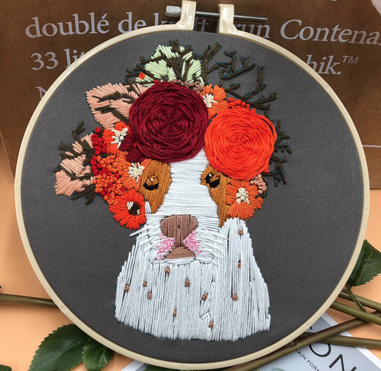 Spot White Dog with Orange Wreath Embroidery