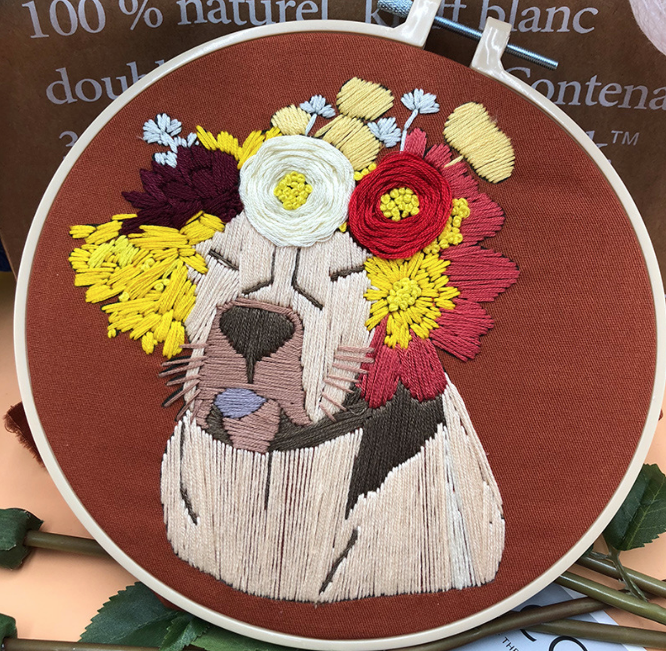 Pug with Red/White Wreath Embroidery