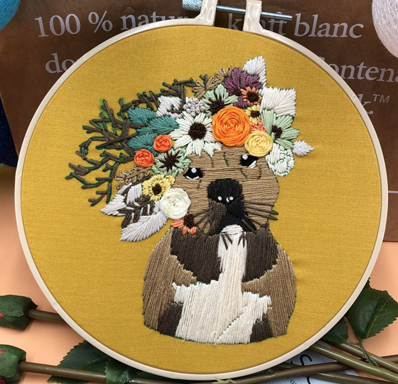Pug with Color Wreath on Yellow Embroidery