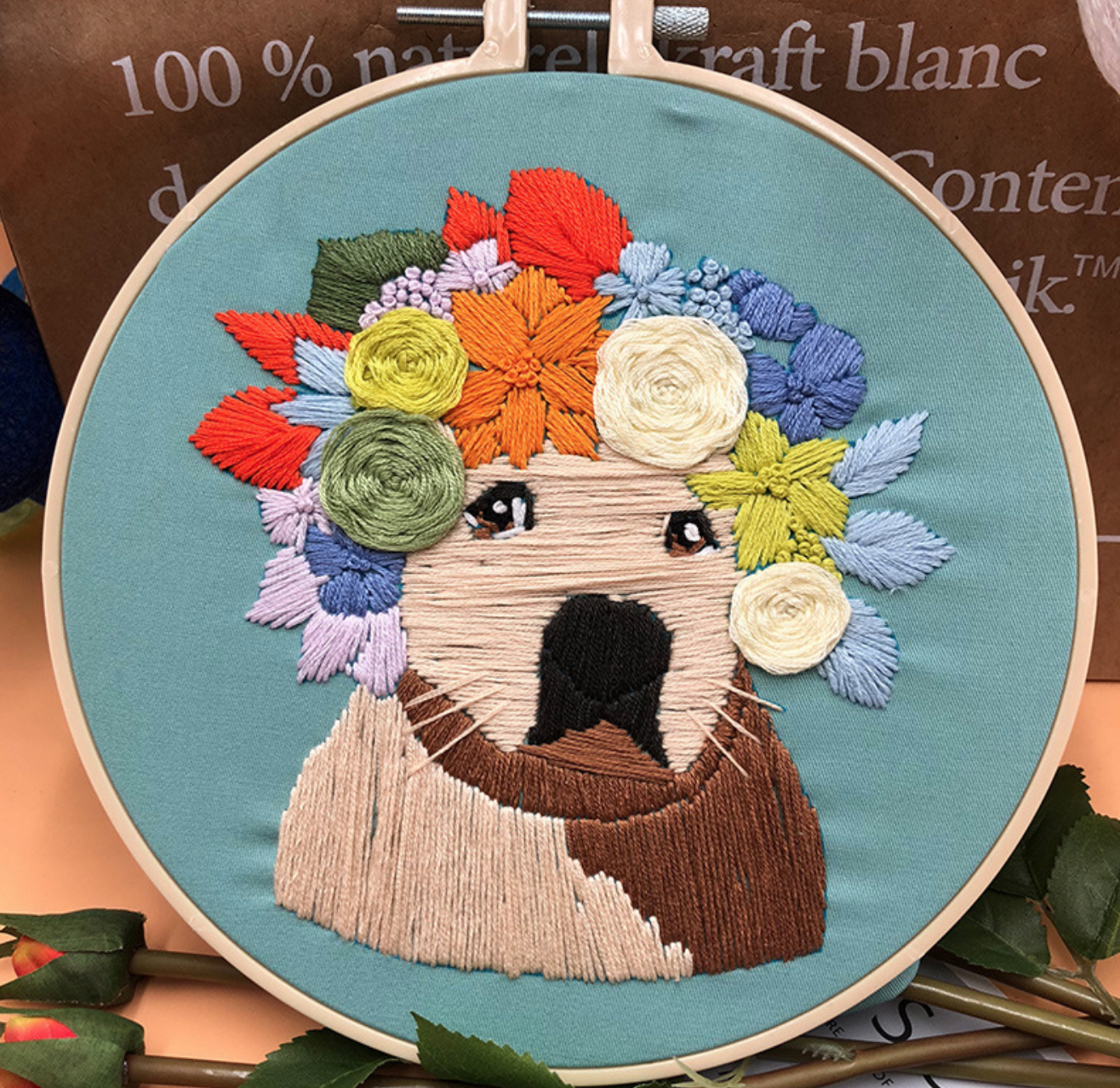 Pug Colorful Wreath on Blue Embroidery