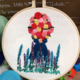 Red/Yellow/Pink Bouquet with Blue/Purple Embroidery