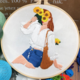 Sunflower Bouquet with Brunette Hair Embroidery