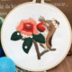 Chipmunk on Red Flower Embroidery