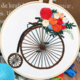 Big Wheel Bicycle with Red Flowers Embroidery