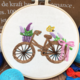 Brown Bicycle with Purple Flowers Embroidery