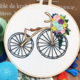 Yellow and Black Bicycle with Blue and Purple Flowers Embroidery