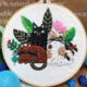 Three Cats with Plants Embroidery