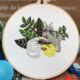 Two Cats with Yarn and Plants Embroidery