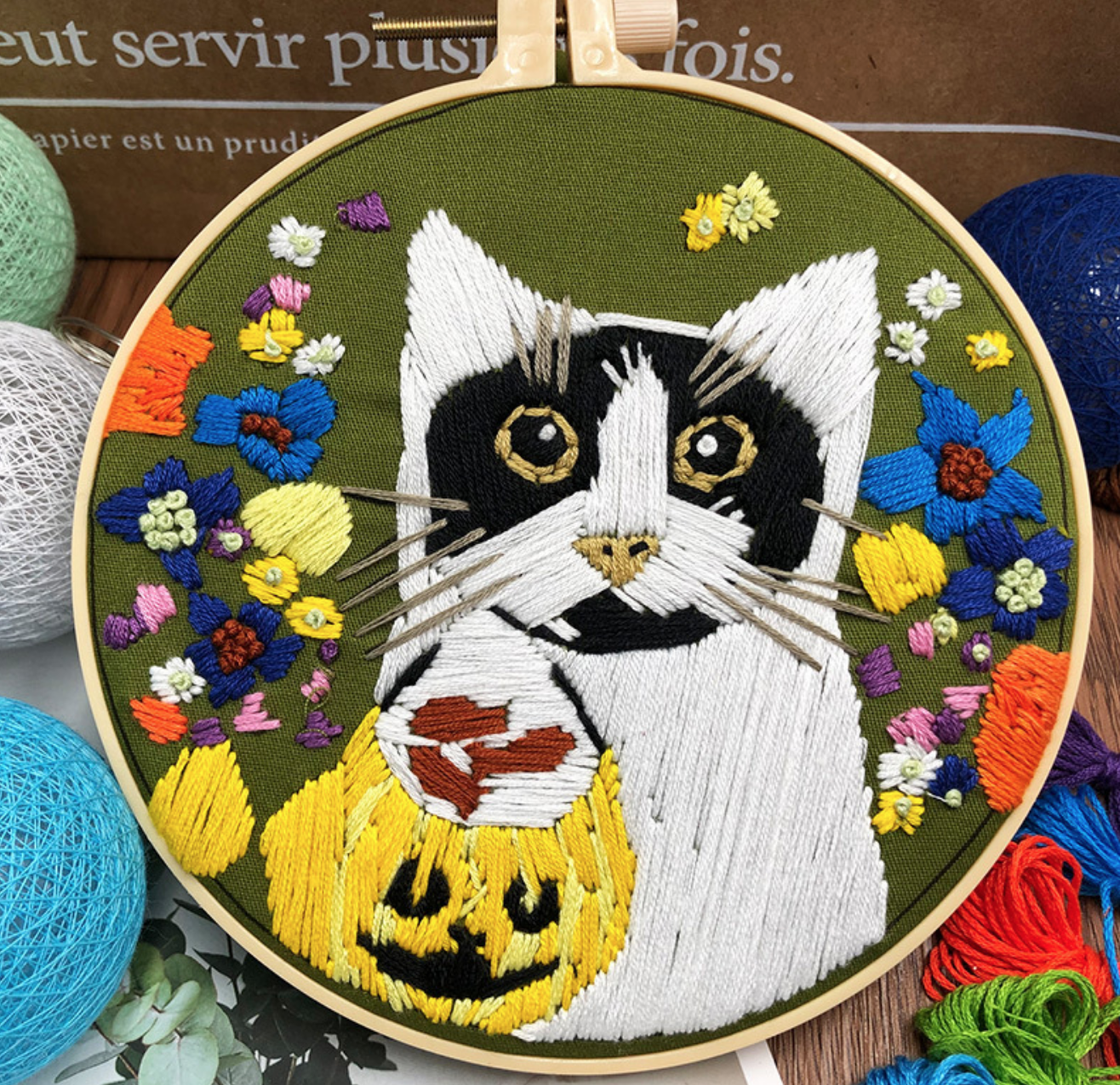 Cat with Jack O Lantern Embroidery