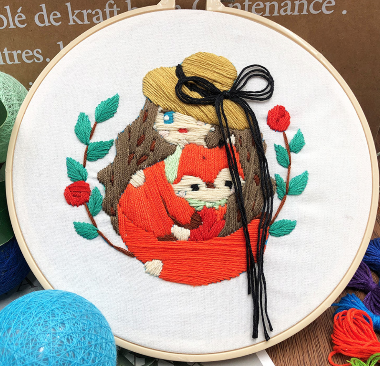 Red Sweet Girl with Fox Embroidery