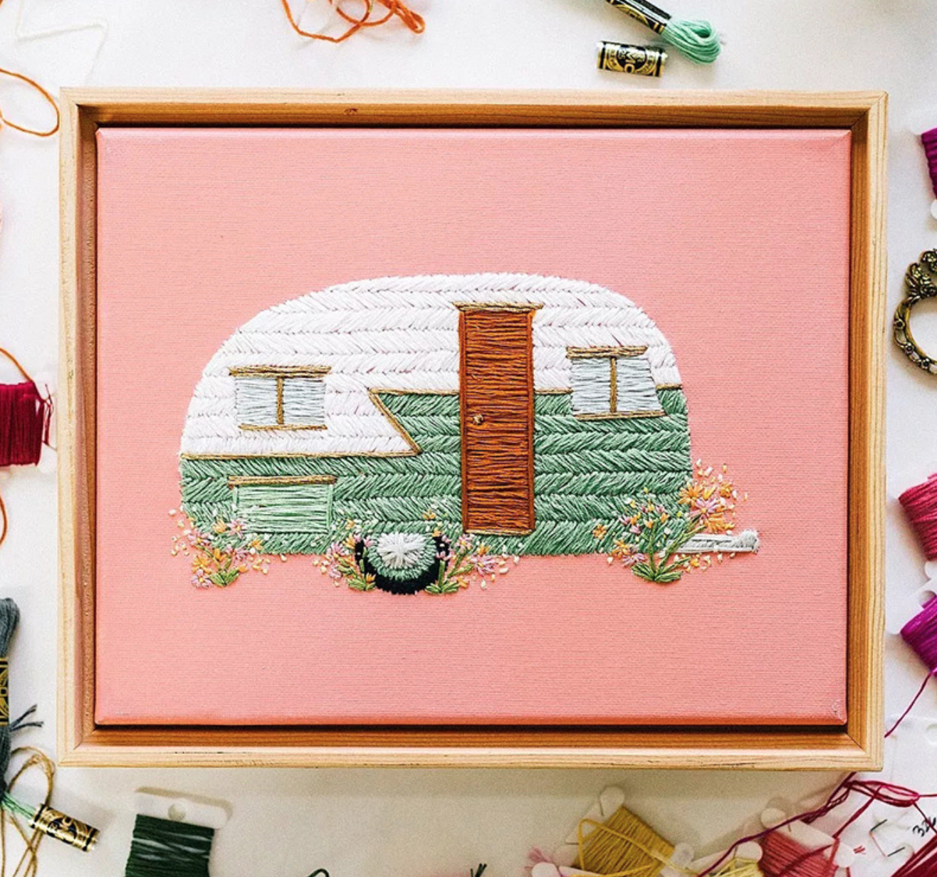 White and Green Camper Embroidery
