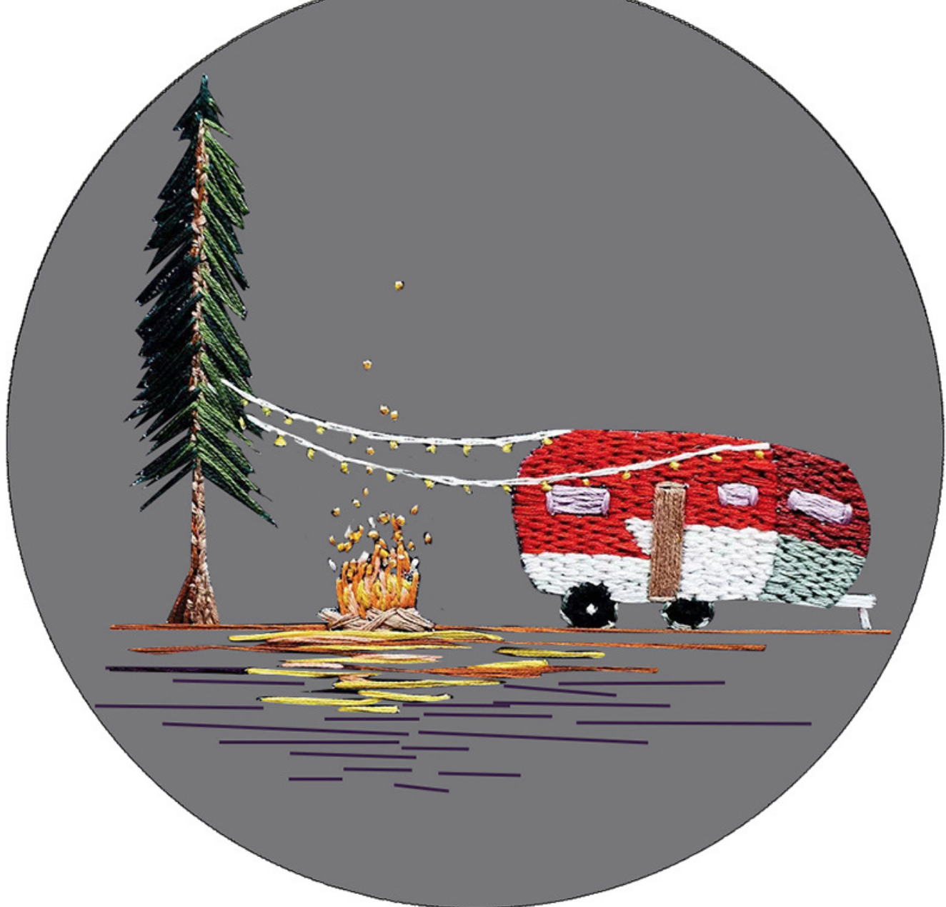 Camper with Campfire on Black Embroidery
