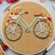 Teal Bicycle with Flowers Embroidery