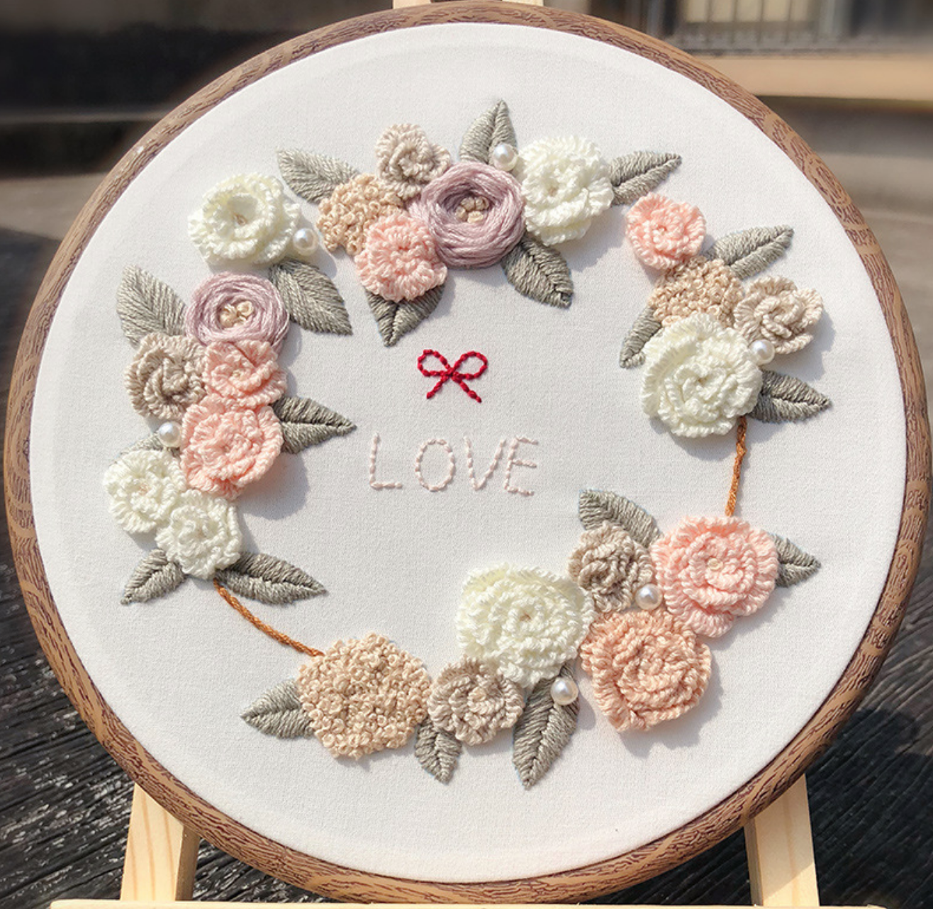 Love Pink Wreath Embroidery