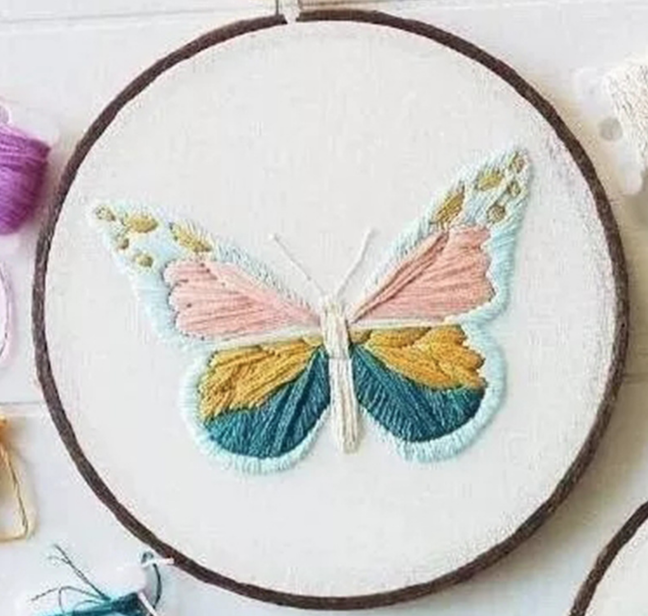 Blue Butterfly Embroidery
