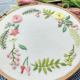 Little Spring Flowers Green/Pink Embroidery