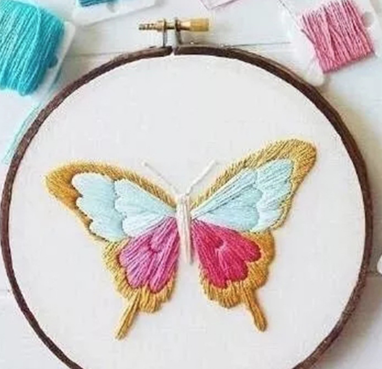 Pink Butterfly Embroidery