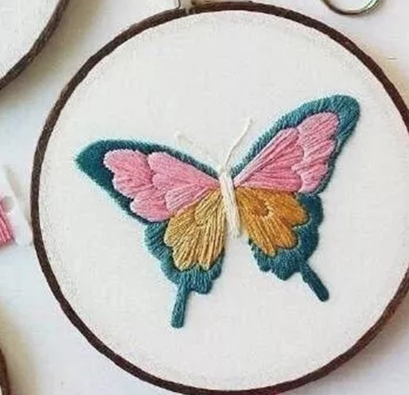 Teal/Pink Butterfly Embroidery