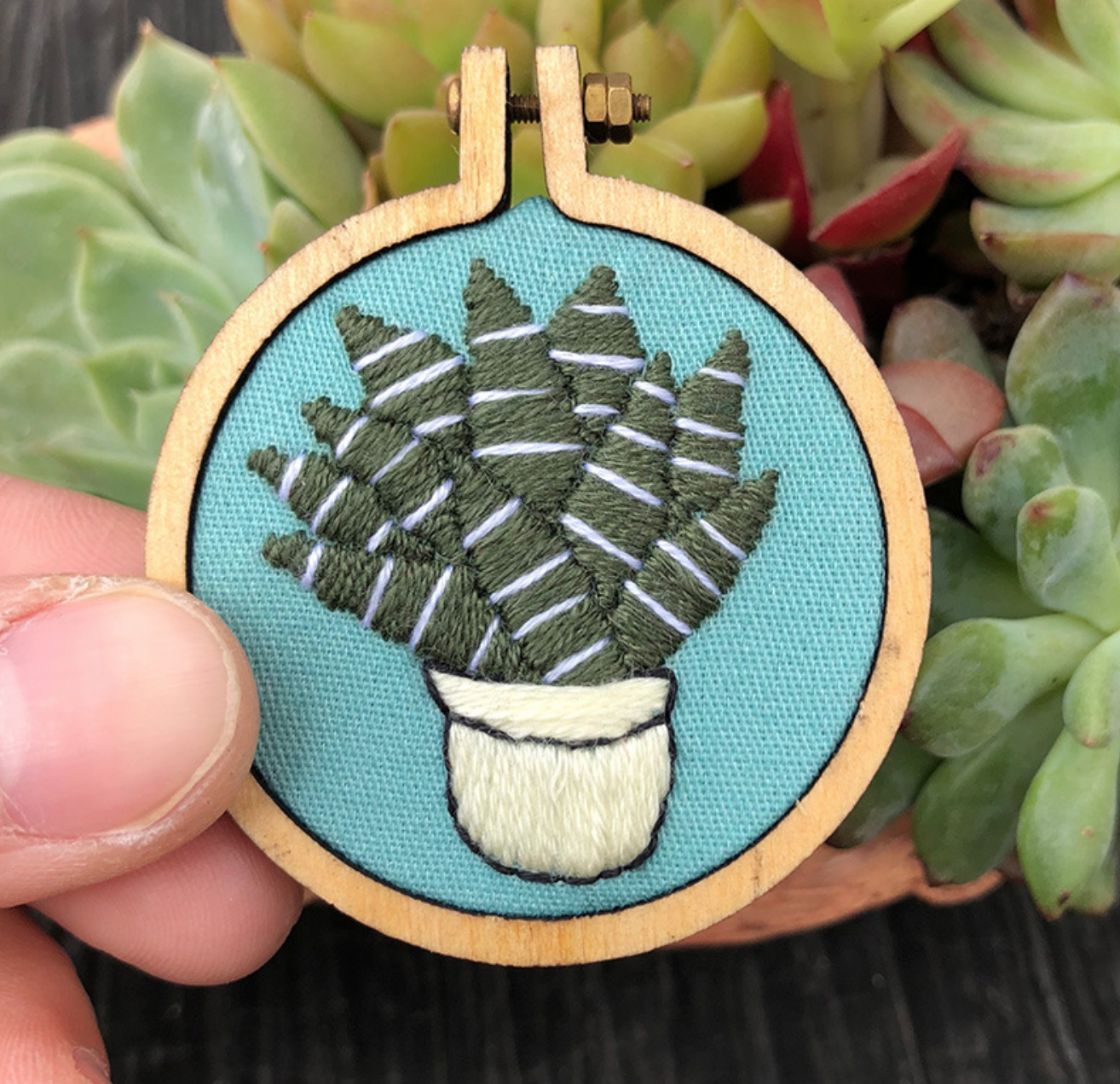 Aloe on Blue Embroidery