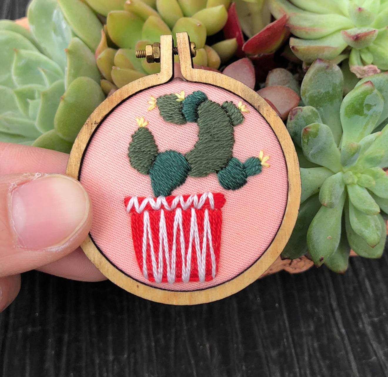 Cactus on Pink Embroidery