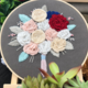 Pink/Yellow/White Bouquet on Grey Embroidery