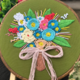 Blue Flower Bouquet on Green Embroidery