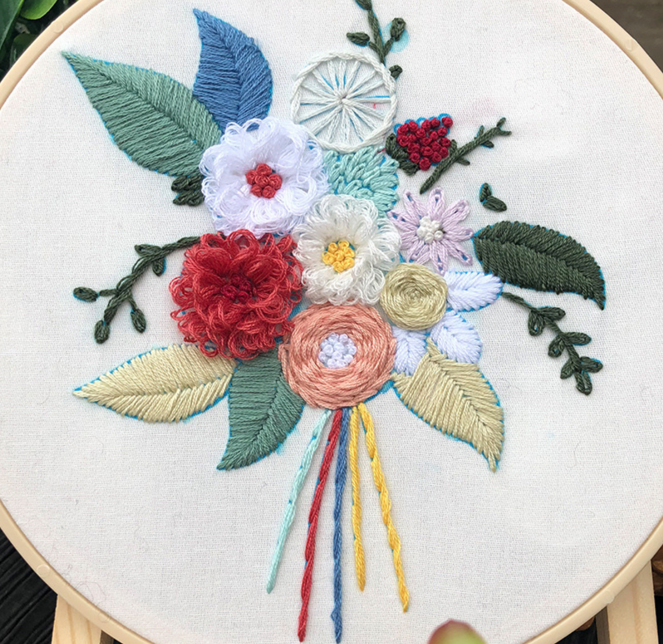 White/Red/White Bouquet Embroidery